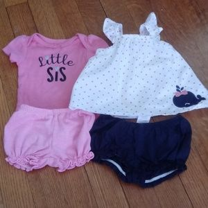 2 Baby Girls Tops and Diaper Covers EUC!